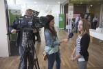 Runa Sandvik getting interviewed by Swedish Television