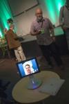 Anders Norberg, TUV, Umeå University demonstrates the robot