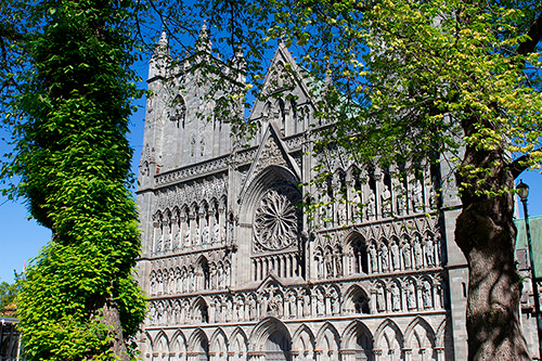 Nidaros Cathedral west wall exterior richly decorated with sculptures
